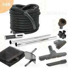 DELUXE!! Complete Central Vacuum Garage Car Care Kit 50' ft Hose and Attachments