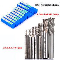 3-12mm HSS CNC Straight End Mill 4 Flute Milling End Cutter Drill Bit Tool