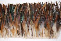 "3"" SCHLAPPENS FRINGE - NATURAL HALF-BRONZE 8-10"" Trim Feathers; Craft/Hat/Bridal"