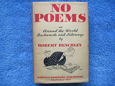 ROBERT BENCHLEY NO POEMS -FIRST EDITION, FIRST PRINTING - 1932 - IN DUST JACKET