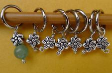 Stitch marker, knitting 6+1 ,  pewter  beads , flower
