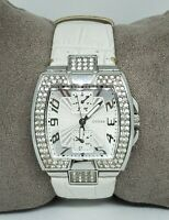 Ladies Guess Silver Tone White Leather Quartz Analog Watch U11555L2 A4
