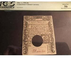 Connecticut Colonial Currency Mar. 1, 1780 20 Shillings About New 50