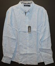 Nautica Mens Blue Striped Chest Pocket 100% Linen Button-Front Shirt NWT Size M