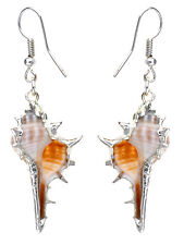 Silver Tone Peach White Ocean Sea Conch Shell Fish Hook Dangle Earrings
