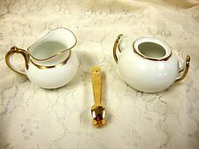 WITTELSBACH GERMANY STAMPED WHITE GOLD TRIM PORCELAIN CREAM & SUGAR SET W/ TONGS