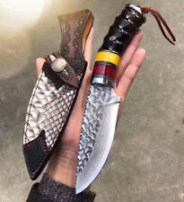 VG10 DAMASCUS HUNTING KNIFE FIXED BLADE COLLECTIBLE ART KNIFE RESUCE W/ SHEATH