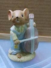 Enesco Country Calico Mice Mouse Musician Cello Bass Fiddle Figurine 1982