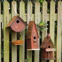 Glitzhome Vintage Rustic Wooden Birdhouses Hanging Bird Feeder Nest Garden Decor