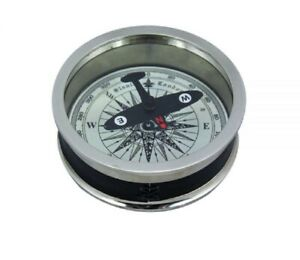 Navy Compass, Magnetic Compass, Dosenkompass With Aircraft Needle, Brass Silver