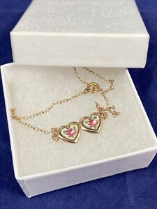 Vintage 1/20 12k Yellow Gold Filled Enameled Roses Double Heart Anklet 10 inches