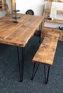 183 cm x 90cm RUSTIC TABLE AND BENCH SET BLACK METAL HAIR PIN LEGS ! RETRO