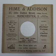 """78rpm 10"""" card gramophone record sleeve HIME & ADDISON , MANCHESTER"""