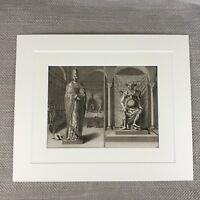 Antico Originale 18th Secolo Incisione Picart Cinese Cerimonia Dio Divinità Idol