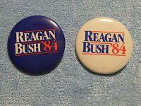 Reagan Bush 1984 Campaign Pin Duo - White w/Blue  and Blue w/White Lettering