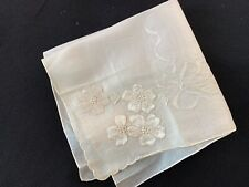 Vintage Ladies' Sheer White On White Embroidery Flowers Hankie/Handkerchief