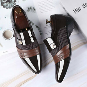 Men Shoes Slip On Pointed Toe Patent Leather Casual Loafer Shoes Formal Business