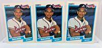 David Justice 3 Card ROOKIE Lot 1990 Fleer Baseball Card #586 Atlanta Braves
