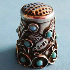 L@@k Fantastic Vintage Sterling SILVER Ornate Mexico IM-22 Turquoise Thimble!