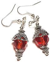 Long Silver Red Earrings Glass Bead Drop Dangle Tibetan Style Pierced