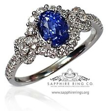 GIA G.G Certified 18kt White Gold 2.16 tcw Oval Cut Blue Sapphire & Diamond Ring