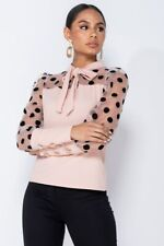 Women Polka Dot Pussy Bow Tie Blouse Mesh Long Sleeve Top Casual Loose Shirt Tee