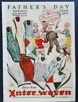 1939 Interwoven Socks Fathers Day Art Mens Fashion June 18th Vintage Print Ad