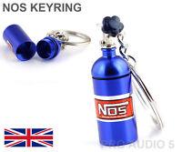 BLUE NOS NITROUS OXIDE  KEYRING KEY CHAIN STASH BOX - HIGH QUALITY UK POST