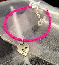 Neon Pink Charm Bracelet Heart Charm Paw Prints Dog Cat Pet Gift Love Friendship