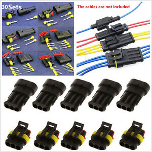 30 Kit 1 2 3 4 5 6 Pin Way Car Sealed Electrical Wire Connector Plugs Waterproof
