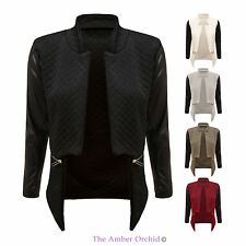 WOMENS LADIES QUILTED JACKET PVC LONG SLEEVE GOLD ZIP POCKETS BIKER BLAZER 8-14