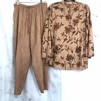 Drapers & Damon's Pants And Blouse 2 Piece Outfit Rust Brown Floral Top Pants M