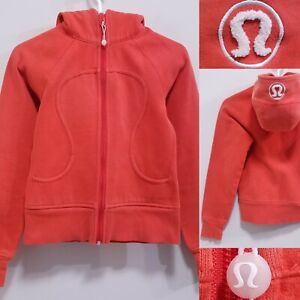 Lululemon SCUBA Orange Zipper Jacket Size 4 XS Sweater Yoga Hoodie White