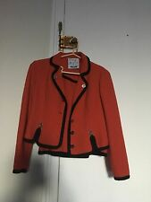 Vintage MOSCHINO Wool Suit - Red w/ Black Trim & Silver Buttons - US Size 10