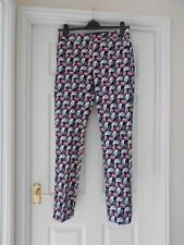 BODEN NWT Richmond Full Length Trousers - Navy/Pink - UK 12 L - Spring 2017