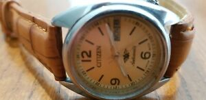 Rare Vintage CITIZEN 8200A Auto 21J Gold Dial 33mm Unisex D/D Watch Serviced VGC