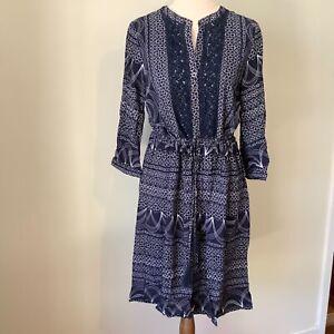 Katies dress  size 8 navy blue white knee length 3/4 sleeves