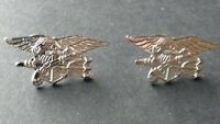 Seal Team Silver Colored Set of 2 Trident Lapel Pin Badge 1.1 inches USN US Navy