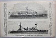1888 CORAZZATA LEPANTO - ARIETE TORPEDINIERE VESUVIO Ill. Popolare Regia Marina
