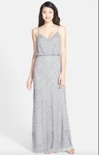 c8fe705fc9d NWT Adrianna Papell BEADED Blouson Gown Silver Gray Art Deco sz 2 BRIDESMAID