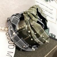 Women's Pearl Tie Fabric Headband Hairband Cross Wide Hair Band Hoop Accessories