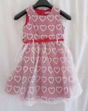 Ladybird Girls Heart Embroidered Organza Overlay Dress White over Red 2 - 4 Year