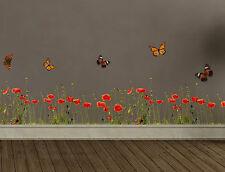 extra lange Wandtattoo/ Wandsticker Mohnblumen 1 Blatt 30 X 200 Cm