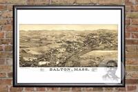 Vintage Dalton, MA Map 1884 - Historic Massachusetts Art - Victorian Industrial