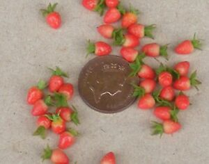 1:12 Scale Strawberries Fixed In A Bowl Tumdee Dolls House Miniature Fruit