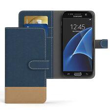 Tasche für Samsung Galaxy S7 Jeans Cover Handy Schutz Hülle Dunkelblau