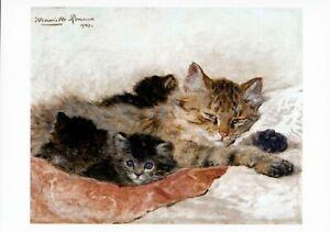 Henriette Ronner-Knip Art Print SLEEPING MOM Mother Cat & Cute Kittens Sleep