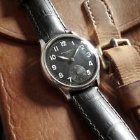 RECORD Genf SWISS WRIST WATCH 1940S WW II WW2 MILITARY NO DH BLACK DIAL FOR MEN