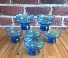 Vintage Six Blue Holmegaard Canada Glasses by Per Lutken Mid Century Modern