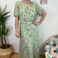 Green Floral Dress Long Length Cottagecore Pretty Summer Floaty Sz 18